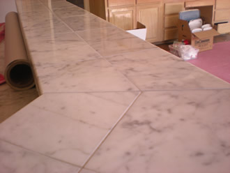 Marble restored with diamond grinding