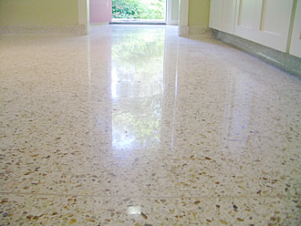 Poured Terrazzo after Diamond grinding