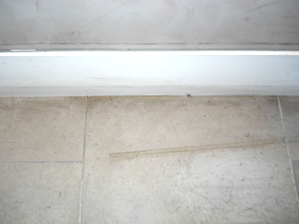 Stain on limestone tile.
